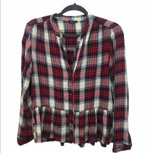 2/$20 Splendid Edgware Plaid Crop Shirt w/ Fray, S